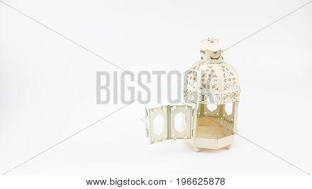 Door Opening Of Decorate White Metal Lantern Case
