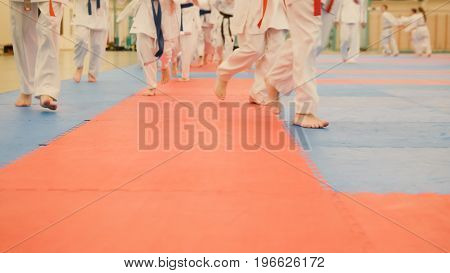 Karate training - young sportsmen in kimono runs on tatami in the gym, telephoto view