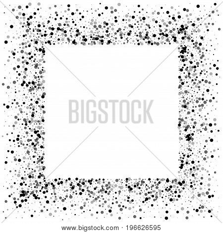 Dense Black Dots. Square Messy Frame With Dense Black Dots On White Background. Vector Illustration.