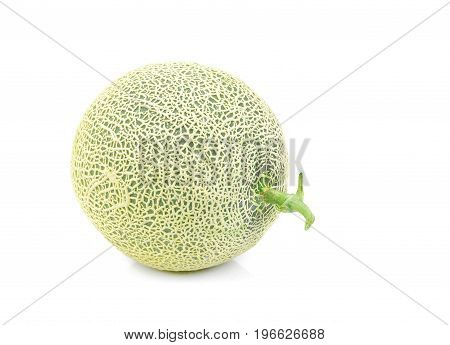 Green melon isolated on white background Cantaloupe melons