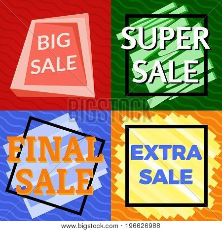 Set of four sale vector bannes with colorful design elements. Vector illustration.