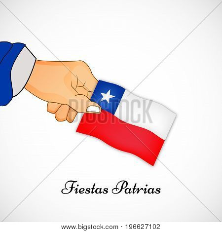 illustration of hand holding Chile flag with Fiestas Patrias text on the occasion of Chilean Fiestas Patrias