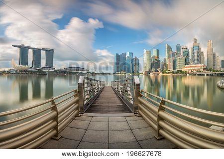 Daylight and bridge in Singapore City with panorama view Singapore