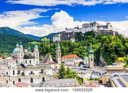 Salzburg Austria. Old town with Festung Hohensalzburg fortress and Salzburger Dom.