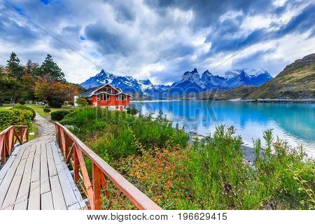 Torres Del Paine National Park Chile. Pehoe Lake.