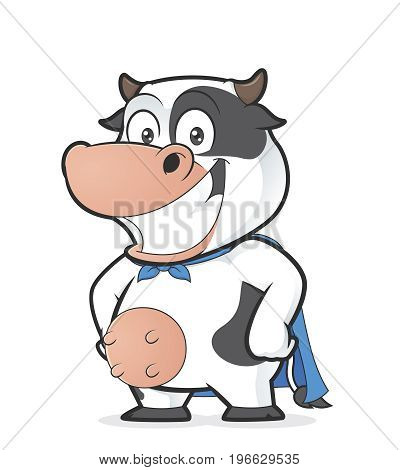 Clipart picture of a superhero cow cartoon character
