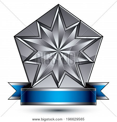 Vector classic emblem isolated on white background. Aristocratic badge with complicated silver star placed on a shield. Blue and gray ribbon clear EPS 8.
