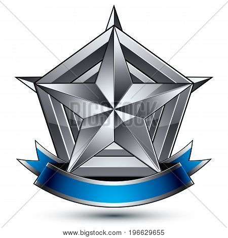 Heraldic 3d glossy blue and gray icon - can be used in web and graphic design five-pointed silver star placed over shield magnificent element with elegant ribbon clear EPS 8 vector.
