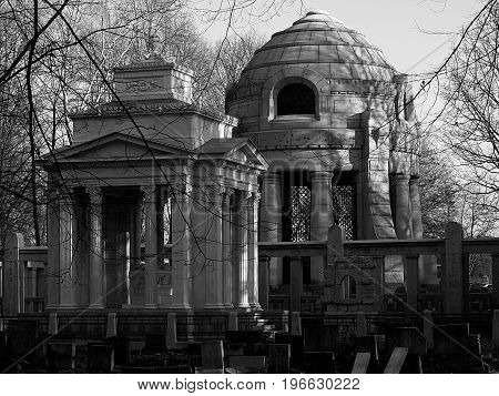 Mausoleum and tomb. Lodz, Poland - October 05, 2014 Mausoleum of the family of the Izrael Poznański family and the tomb of the Silberstein family, the largest Jewish cemetery in Europe in Lodz.