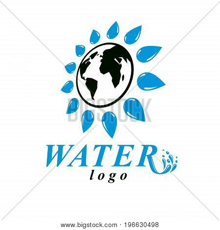 Vector blue clear water drop symbol for use in mineral water advertising. Human and nature coexistence concept.