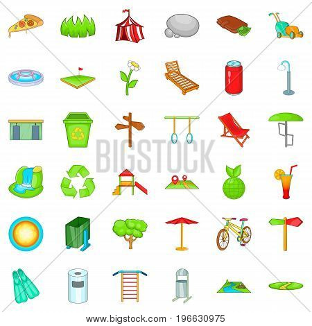 Public park icons set. Cartoon style of 36 public park vector icons for web isolated on white background