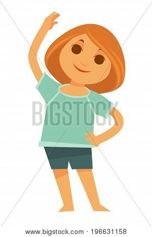 Little redhead girl in sport T-shirt and shorts does side bends isolated vector illustration on white background. Morning exercises for energy charge for whole day and healthy lifestyle maintenance.