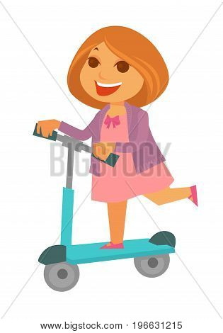Cheerful redhead girl in pink dress with bow and purple jacket rides blue kick scooter isolated vector illustration on white background. Child spends spare time with casual childish entertainment.