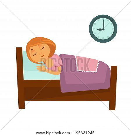 Little redhead girl sleeps deeply under purple blanket and blue pillow isolated cartoon vector illustration on white background. Clocks on wall shows bed time. Child has rest after long busy day.