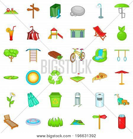 Green park icons set. Cartoon style of 36 green park vector icons for web isolated on white background