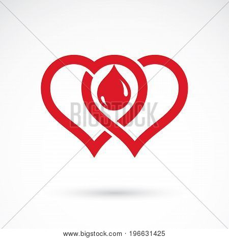 Red heart shape vector illustration composed with blood drops. Medical theme vector graphic symbol for use in medicine rehabilitation or pharmacology.
