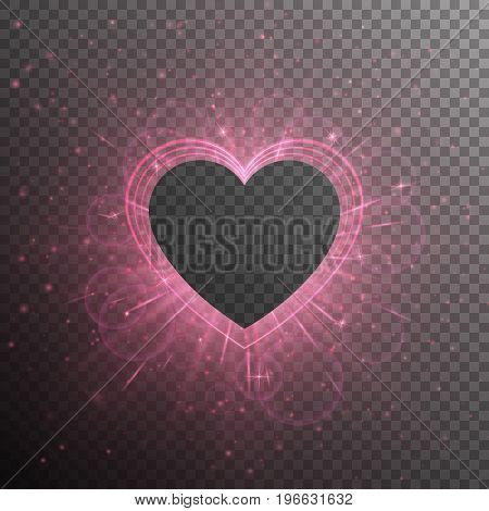 Glow background with light rays. A shiny frame in the shape of hearts on a transparent backdrop. Vector design for St. Valentine's Day.