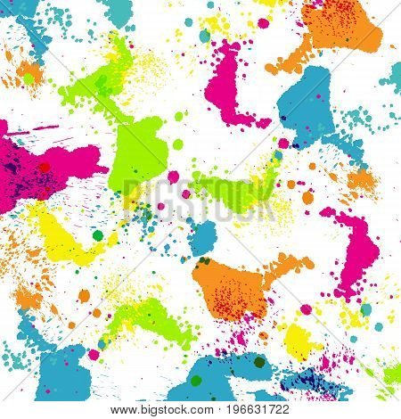 Vector illustration of colorful vivid paint splashes.