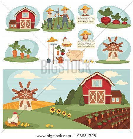 Farm household or farmer agriculture flat design. Vector man and woman farmers on harvest field farming wheat or vegetables, cattle pasture and fowl chicken, wheat barn or grain mill and work tools
