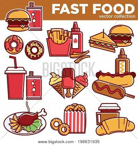 Fast food menu flat icons. Vector isolated set of burger, hot dog sandwich or donut dessert, french fries snack or croissant and ice cream with chicken leg grill and cheeseburger for fastfood cafe