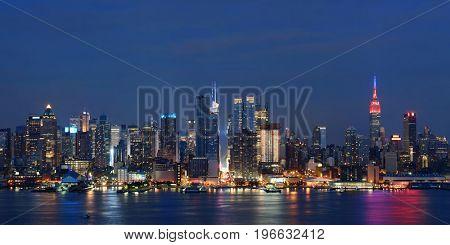Manhattan midtown skyscrapers and New York City skyline at dusk
