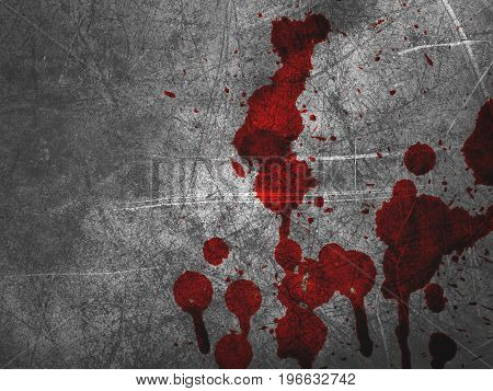close up red blood on cement wall texture