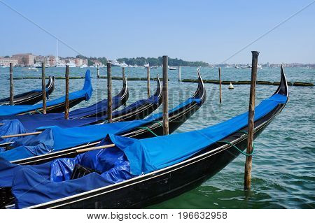 Venice. Morning. Gondolas on a Grand canal.