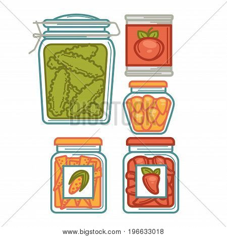 Vector illustration of conserved vegetables in jars and tin isolated on white.