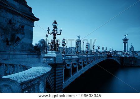 Alexandre III bridge and River Seine in Paris, France.