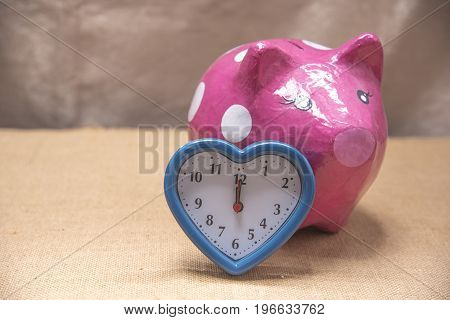 Money piggy bank box with Alarm Clock
