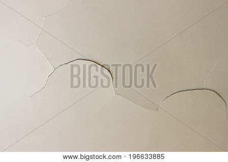 Closeup on a crack in a white ceiling of a generic unidentified old house