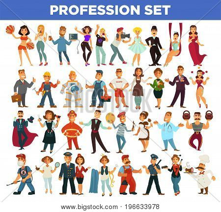 Professions people different occupations. Service workers manager, photographer of fashion deisgner and docor, builder carpenter or hairdresser and fireman with policeman. Vector isolated flat icons