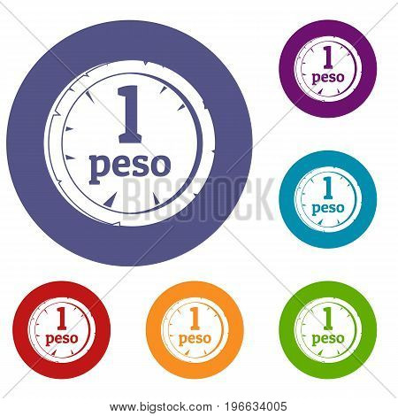 Peso icons set in flat circle red, blue and green color for web