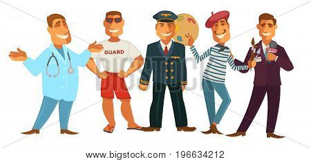 Friendly doctor in robe with stethoscope, beach life guard in sunglasses, brave pilot in uniform, creative painter with palette and journalist in maroon suit with microphone vector illustrations.