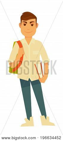 Young handsome student in beige loose shirt, blue jeans and white sneakers with big bright rucksack and book in hardcover isolated vector illustration. Modern male character goes to university.