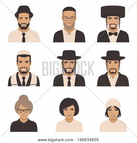 smile jewish people, vector rabbi jew face, orthodox, judaism illustration
