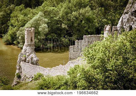 Ruins of Devin castle near city Bratislava Slovakia. Turret under river Morava
