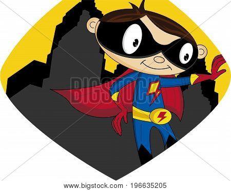 Cute Cartoon Heroic Crime Fighting Superhero Character