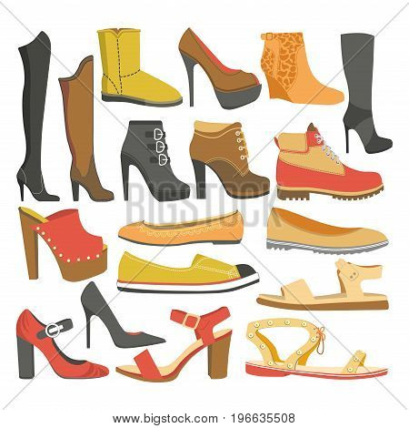 Women shoes types of female footwear icons of casual business clogs, sport sneakers and winter boots or fashion high heel stiletto and sabo flip-flops. Vector isolated set