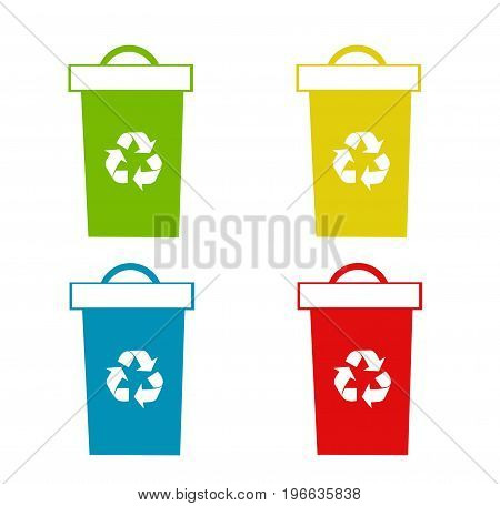 Set of recycling bins illustration on white