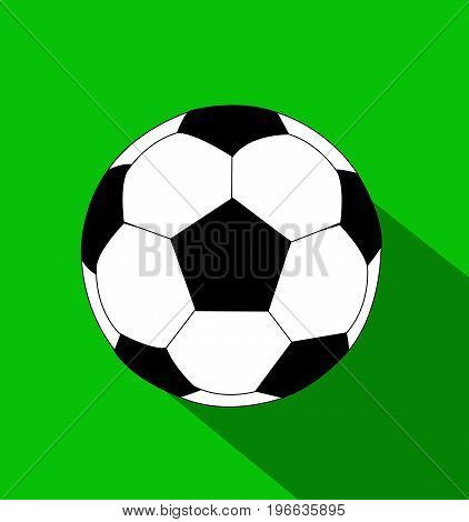 soccer ball flat style illustration on green background
