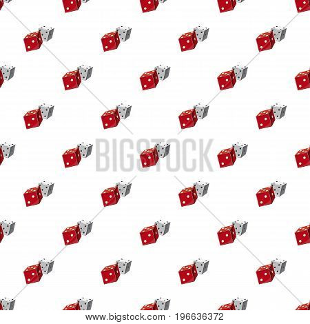 Red and white dice cubes pattern seamless repeat in cartoon style vector illustration