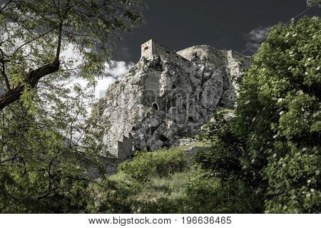 Ruins of medieval Devin castle on the rock near city Bratislava Slovakia