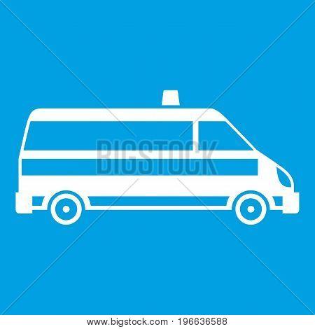Ambulance car icon white isolated on blue background vector illustration