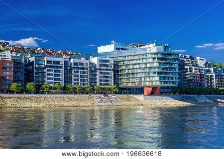 Luxury houses and river Danube Bratislava - Slovakia