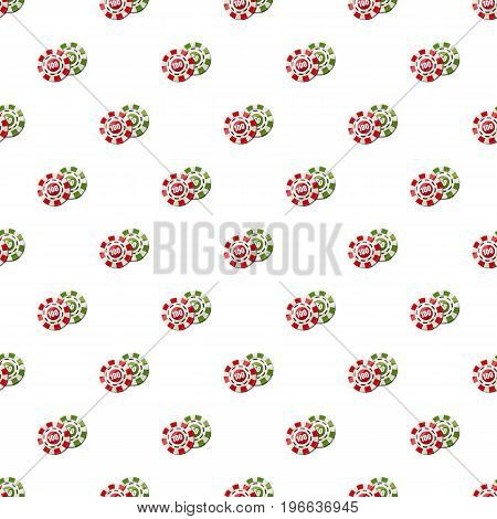 Poker chips nominal one hundred and fifty pattern seamless repeat in cartoon style vector illustration