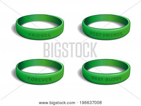 Wristband collection for Friendship Day. Set green bracelets with various inscriptions. Friends. Best friends. Best buddy. Forever. Realistic vector illustration isolated on white background