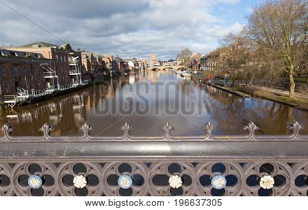 View from Skeldergate Bridge York England with River Ouse within the walls of the city