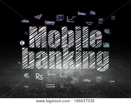 Banking concept: Glowing text Mobile Banking,  Hand Drawn Finance Icons in grunge dark room with Dirty Floor, black background