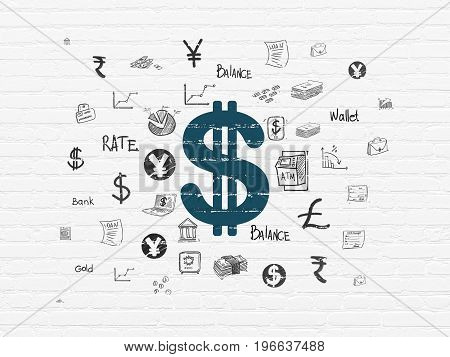 Money concept: Painted blue Dollar icon on White Brick wall background with  Hand Drawn Finance Icons